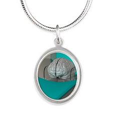 Brain scan, conceptual artwor Silver Oval Necklace