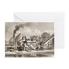 19th Century Steam Thrashing Machine Greeting Card