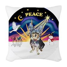 R-XSunrise-AussieTerrier2 Woven Throw Pillow