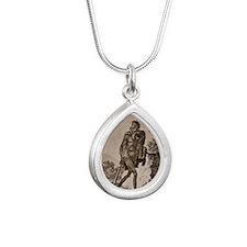 1838 Cave Man engraving  Silver Teardrop Necklace