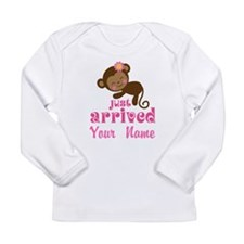 Personalized Just Arrived Baby Girl Monkey Long Sl
