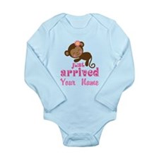Personalized Just Arrived Baby Girl Monkey Body Su