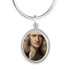 1689 Sir Isaac Newton portrai Silver Oval Necklace