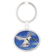 Dove with olive branch Oval Keychain