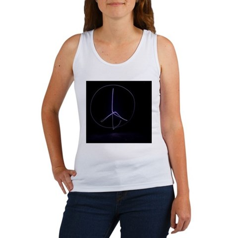 Light painting of a peace sign in Women's Tank Top