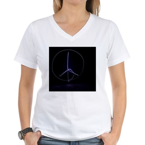 Light painting of a peace s Women's V-Neck T-Shirt