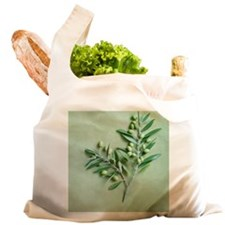 Olive Branch on green backgr Reusable Shopping Bag