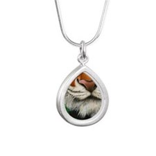 Tiger Nose Note Card Silver Teardrop Necklace
