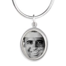 I am Not a Crook! Nixon Obama Silver Oval Necklace