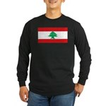 Lebanon Lebanese Blank Flag Long Sleeve Dark T-Shi