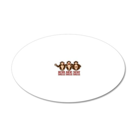 Text No Evil 20x12 Oval Wall Decal