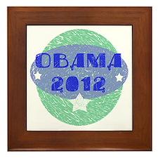 Blue Green Obama 2012 Framed Tile