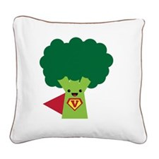 Super Broccoli Square Canvas Pillow
