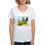 Mille Fleur Rooster & Hen Women's V-Neck T-Shirt