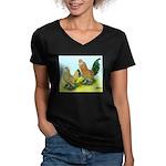 Mille Fleur Rooster & Hen Women's V-Neck Dark