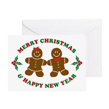 Merry Christmas Gingerbread Couple Greeting Cards