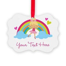 Personalized Ballerina Girl rainbow Ornament