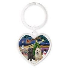 XmasMagic-TWO Cairn Terriers Heart Keychain