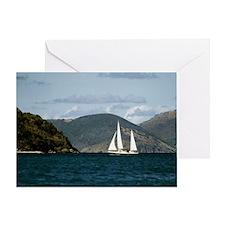Sailboat off the coast, Tortola, Bri Greeting Card