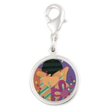 Pups in the Presents Silver Round Charm