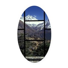 Looking out of a window onto a mou Oval Car Magnet