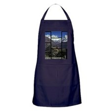 Looking out of a window onto a mounta Apron (dark)