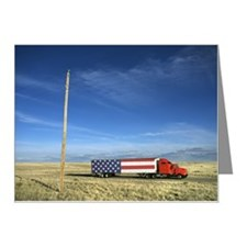 Semi truck with American fla Note Cards (Pk of 10)