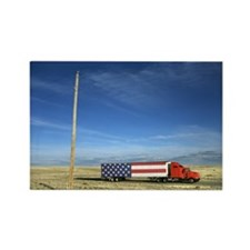 Semi truck with American flag on  Rectangle Magnet