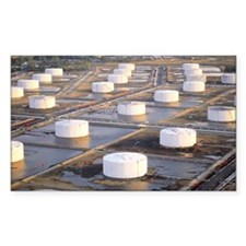 Oil storage tanks at refinery Decal