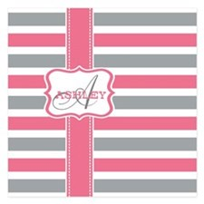 Pink and Grey Stripes Monogram 5.25 x 5.25 Flat Ca