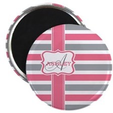 Pink and Grey Stripes Monogram Magnet