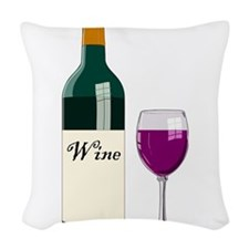 Wine Bottle And Wine Woven Throw Pillow