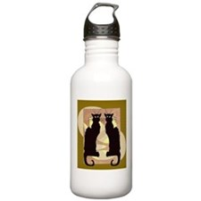 Twin Black Cat Abstract Water Bottle