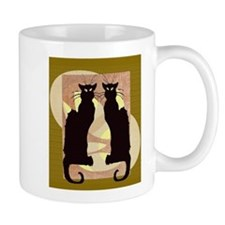 Twin Black Cat Abstract Mugs