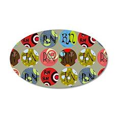 RN Colorful Circles Nurse Sh 35x21 Oval Wall Decal