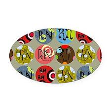 RN Colorful Circles Nurse Shoulder Oval Car Magnet