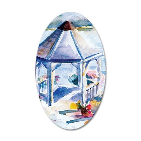 Gazebo At the Cove 35x21 Oval Wall Decal