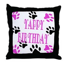 Yappy Birthday Throw Pillow