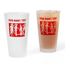 Custom Vintage Fireman Stamp Red Drinking Glass