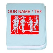 Custom Vintage Fireman Stamp Red baby blanket
