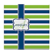 Blue and Lime Stripes Monogram Tile Coaster