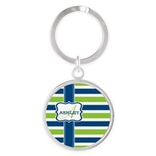 Blue and Lime Stripes Monogram Round Keychain