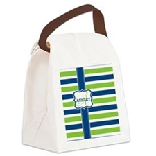 Blue and Lime Stripes Monogram Canvas Lunch Bag