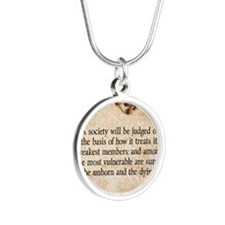 Pope John Paul II Pro-Life Silver Round Necklace