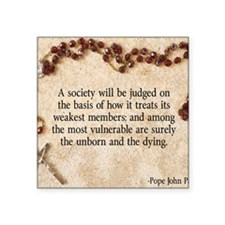"Pope John Paul II Pro-Life Square Sticker 3"" x 3"""