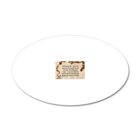 Catholic Pro-Life Quote 20x12 Oval Wall Decal