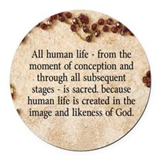 Catholic Pro-Life Quote Round Car Magnet