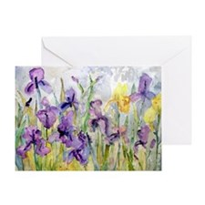 Purple and Yellow Iris Romantic Ruff Greeting Card