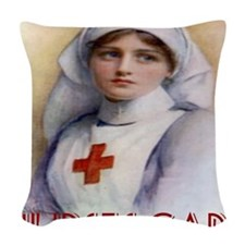 Red Cross Poster Nurses Care T Woven Throw Pillow
