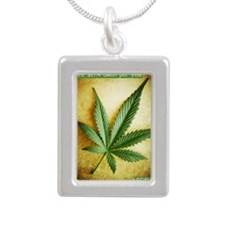 Legalize Marijuana Silver Portrait Necklace